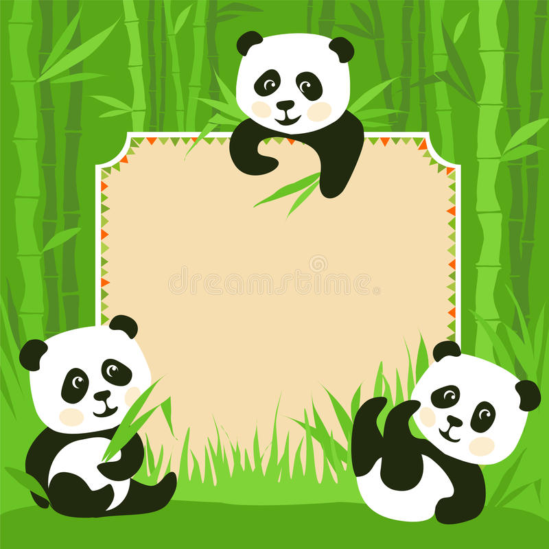 Baby Kung Fu Panda Cute Wallpaper Bamboo Border And Fanny Pandas Stock Vector Illustration