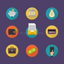 Banking Concept. Set Of Flat Icon Finance