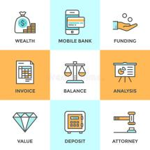 Banking And Funding Line Icons Set Stock Vector