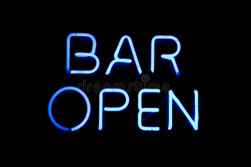 Bar open neon sign stock image Image of open light