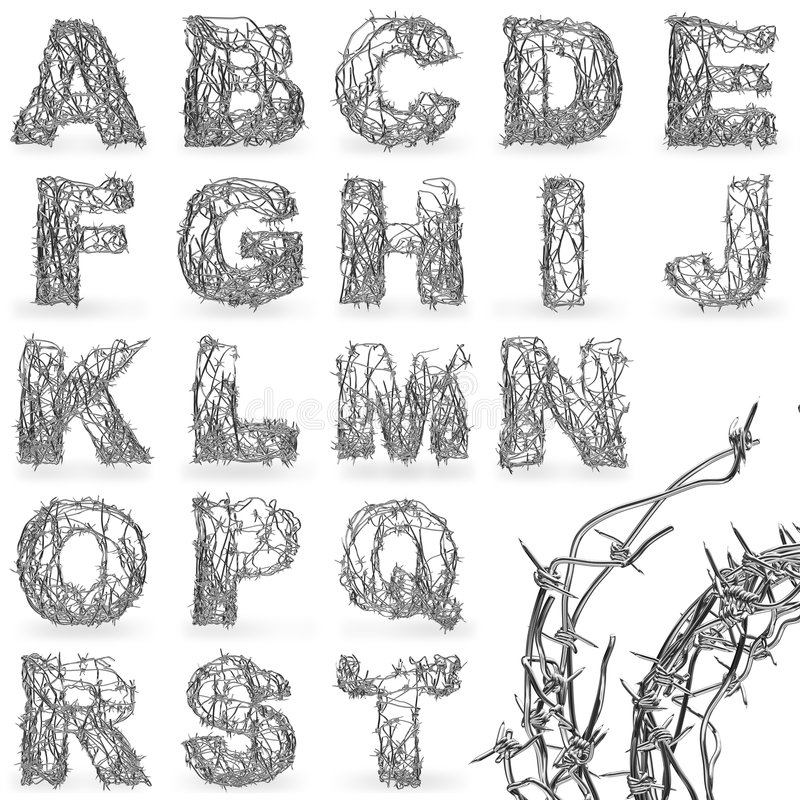 Barbed wire font stock illustration. Image of letter