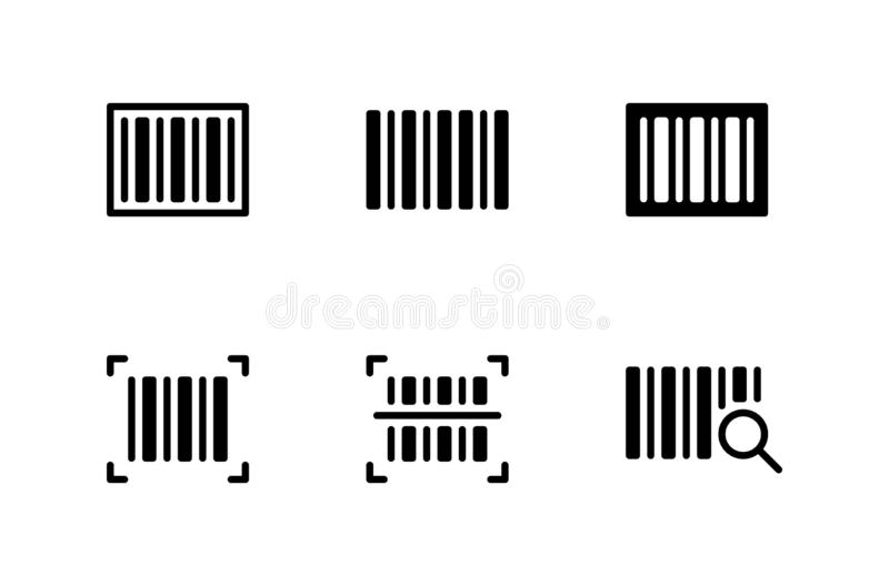 Scanning Label On Box With Barcode Scanner Icon Stock