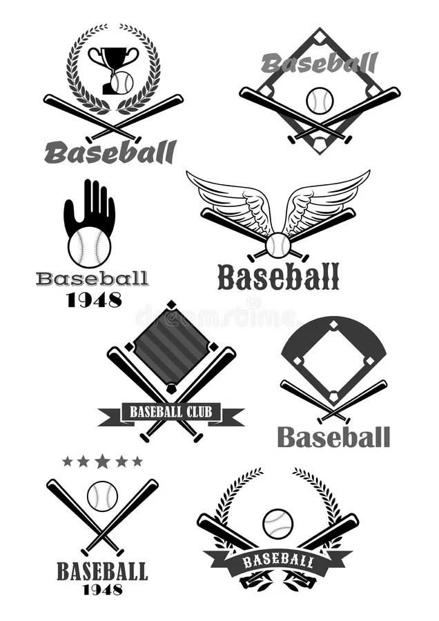Softball And Bat Emblem Banner Illustration Stock Vector