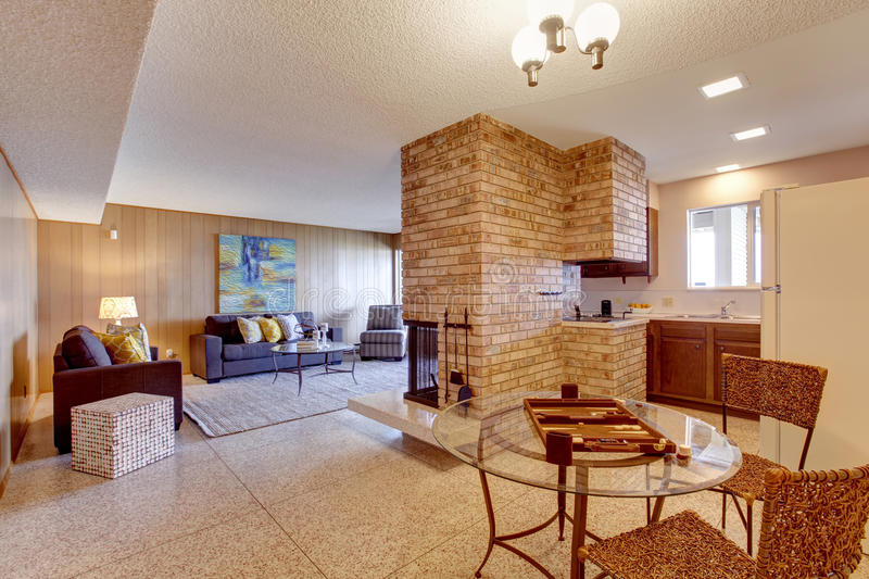 Basement Open Floor Plan. Living Room With Dining And
