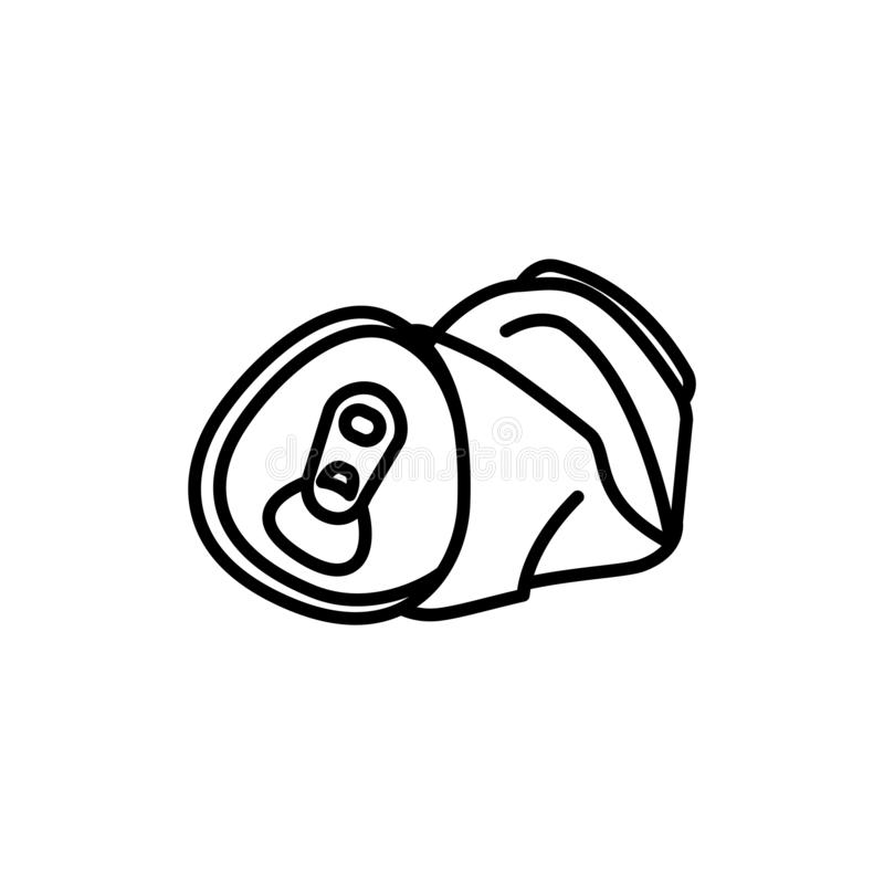 Crushed Beer Can With Straw Stock Illustration