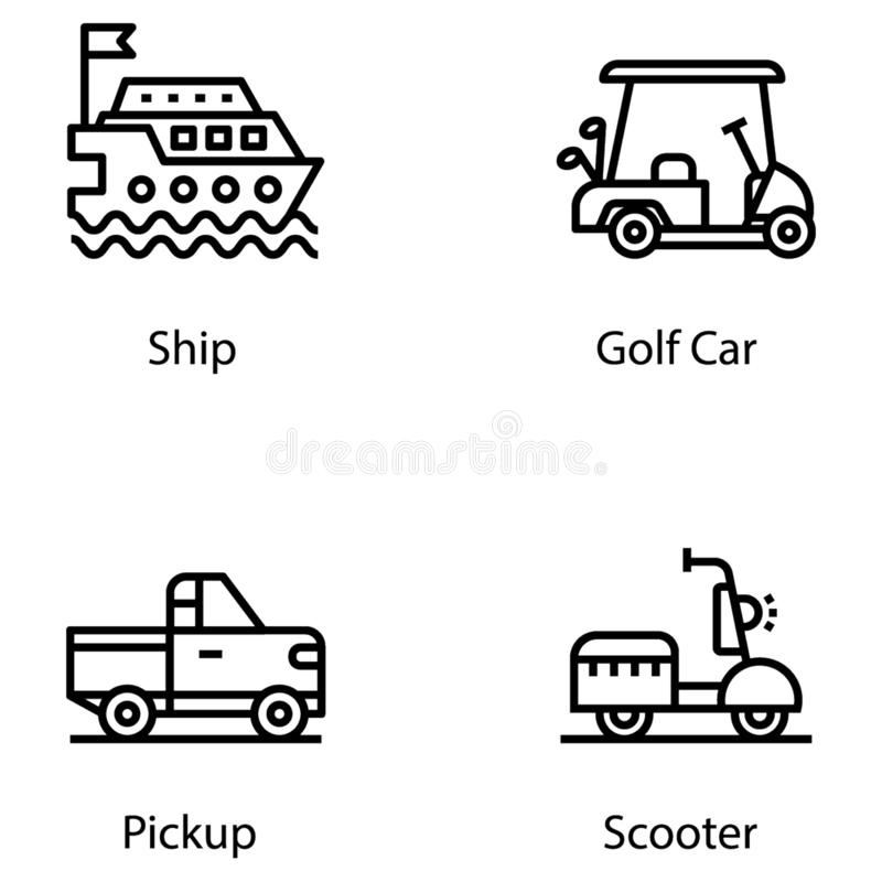 Logistics Line Icons. Airmail Cargo Transportation Stock