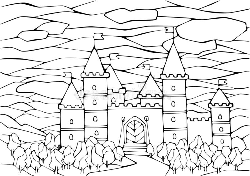 A Book With A Castle At The Forest Stock Vector