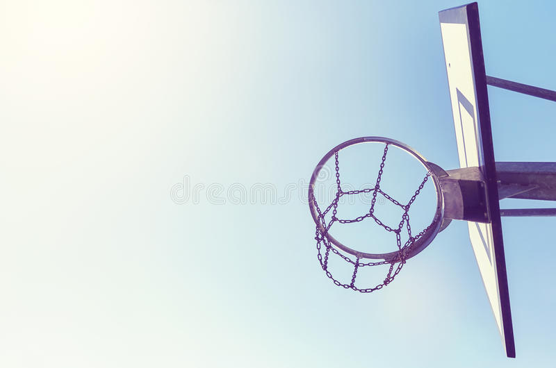 Basketball Hoop With Chain Net At Sunset. Stock Photo - Image of sunset. basket: 98388616