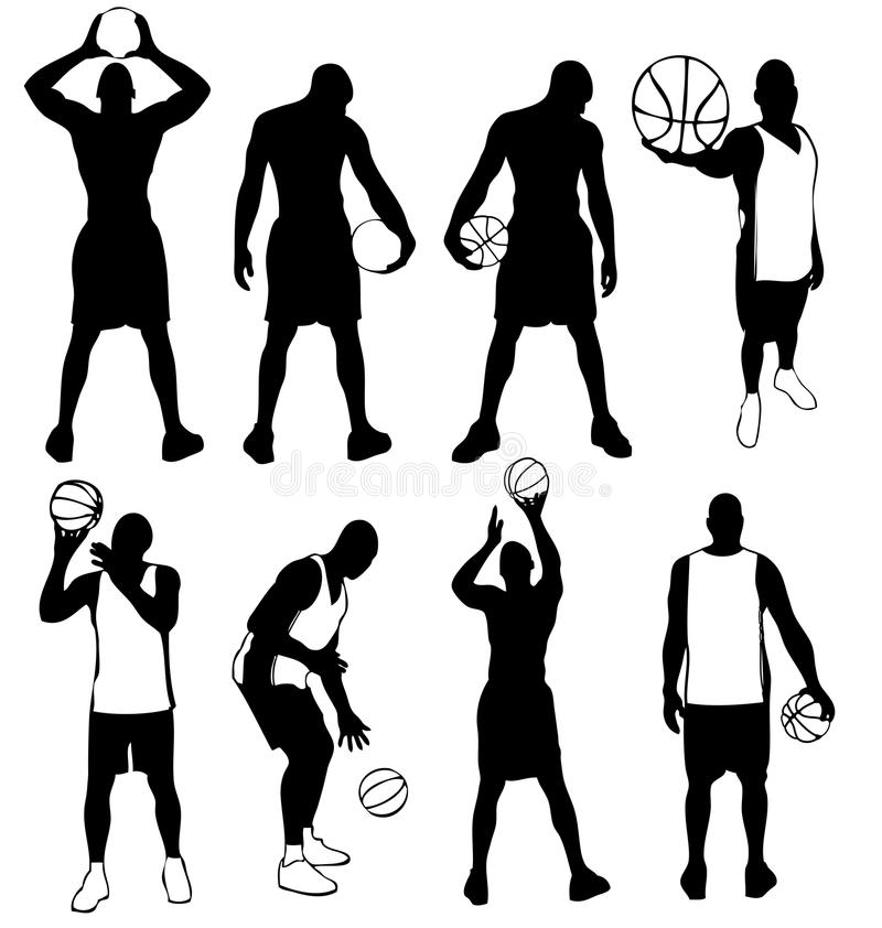 Basketball Players Team Silhouettes In Action Basket Ball