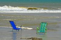 Beach Chairs Ocean Water Sand Peaceful Stock Photo - Image ...