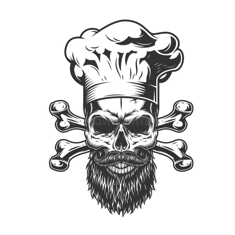 Mustached Chef Seamless Pattern Stock Vector