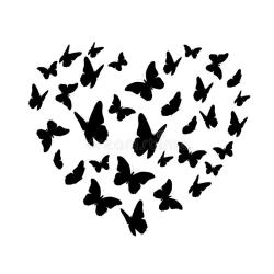 Beautifil Butterfly Heart Silhouette Isolated On White Background Stock Vector Illustration of black background: 101828453