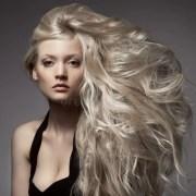 beautiful blond woman. curly long