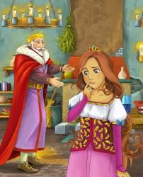 cartoon castle scene king happy kitchen talking lady young bella fairy met castello fumetto parla giovane scena signora felice cucina