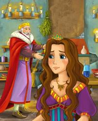 happy castle scene king cartoon kitchen talking lady young culture