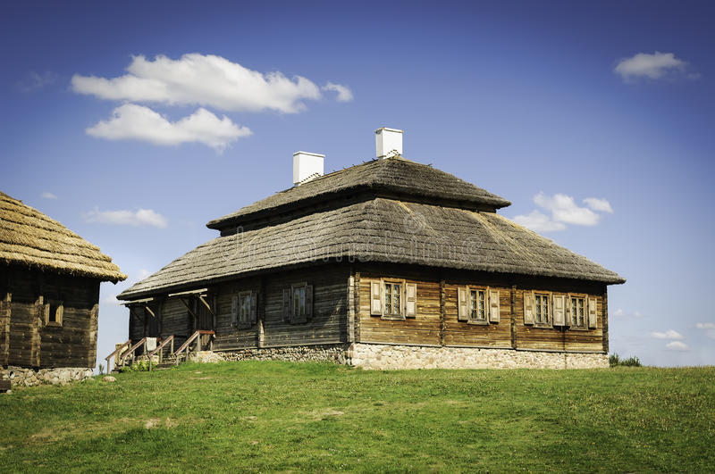 Beautiful Old Style Farmhouse With Thatch Roof Stock Photo ...