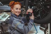 female mechanic garage stock