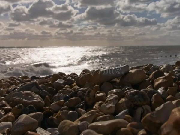rocky seaside dusk stock