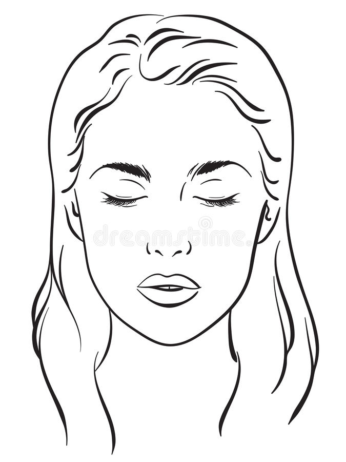 Beautiful Woman With Closed Eyes. Face Chart Makeup Artist
