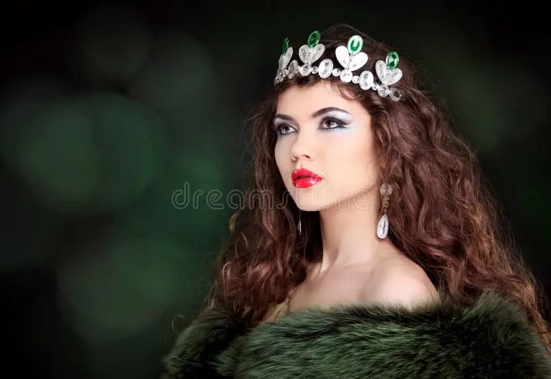 Beautiful Woman Luxury Portrait With Long Hair In Fur Coat