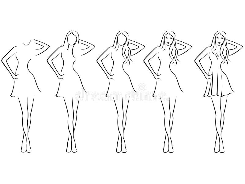 Beautiful Young Women Contour In Drawing Sequence Stock