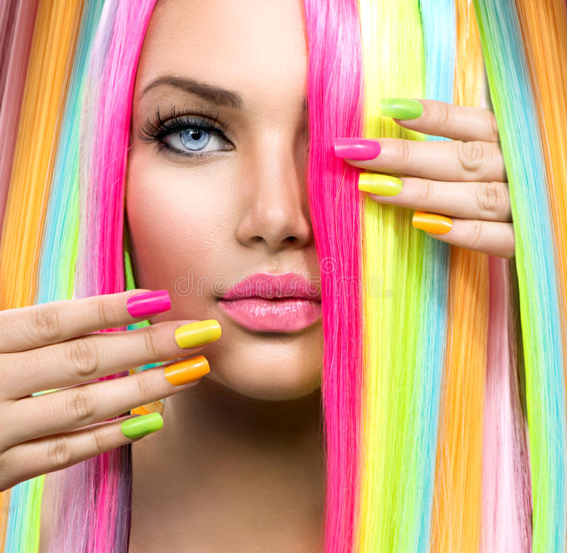 Beautiful Girl Wearing Hat Wallpaper Beauty Girl Portrait With Colorful Makeup Stock Image