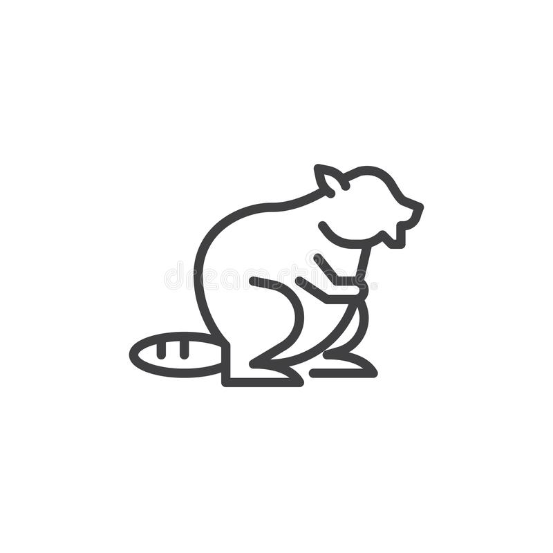 Beaver icon, outline style stock vector. Illustration of