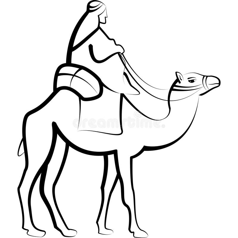 Camel Rider Black White Royalty Free Stock Image