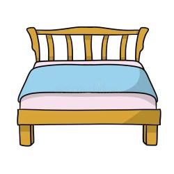 Wooden Bed With Blue Blanket Stock Illustration Illustration of bedroom furniture: 146225725