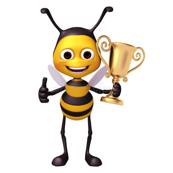 Bee With Trophy Stock Illustration. Illustration Of Coins