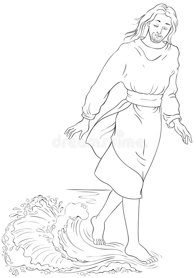 Jesus walking on water stock vector. Illustration of