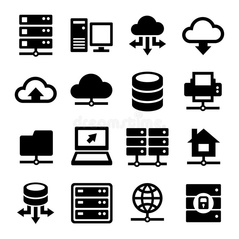 Big Data Center And Server Icons Set. Vector Stock Vector