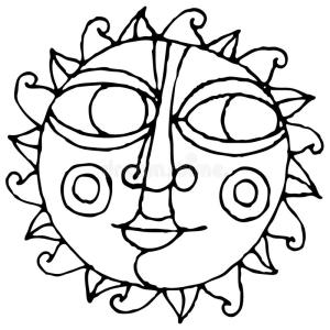 simple drawing hand sun eye moon illustration suns drawings dreamstime eyes rocks easy draw painting moons hands face vector rock