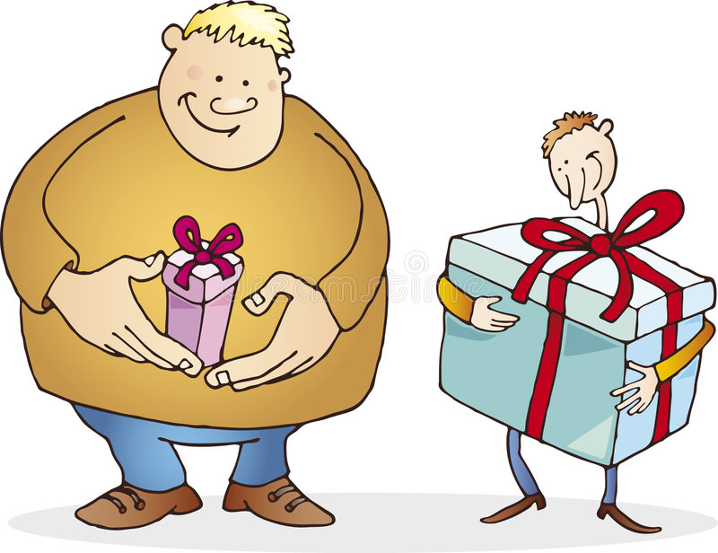 Big Guy With Small Present And Thin With Huge One Stock