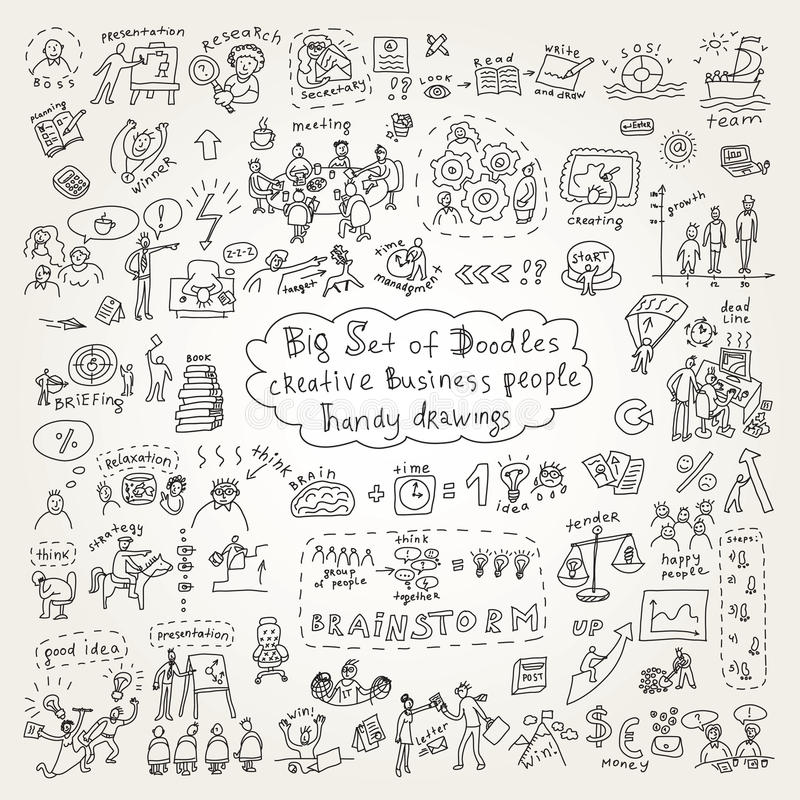 Big Set Of Doodles Creative Business People Icons Stock