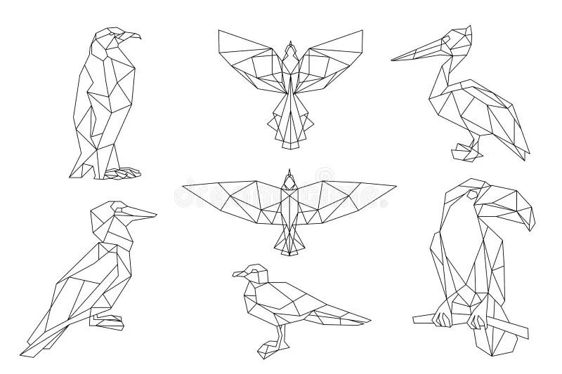 Bird triangular icon set. stock vector. Illustration of