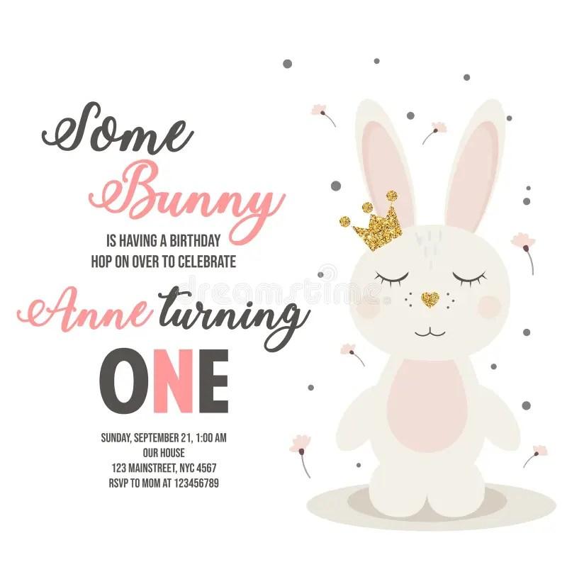 bunny birthday invitation stock