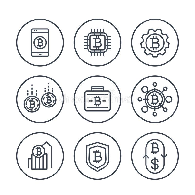 Bitcoin Secure Deposit, Strongbox Icon Stock Vector