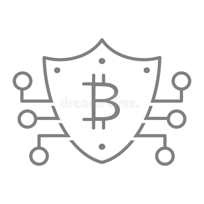 Bitcoin Key Thin Line Icon. Bitcoin Security Vector