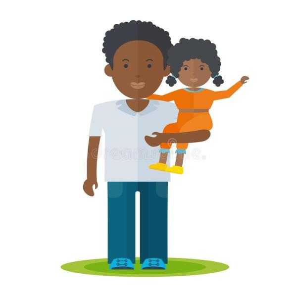 Black Dad And Baby Girl Stock Vector. Illustration Of Icon