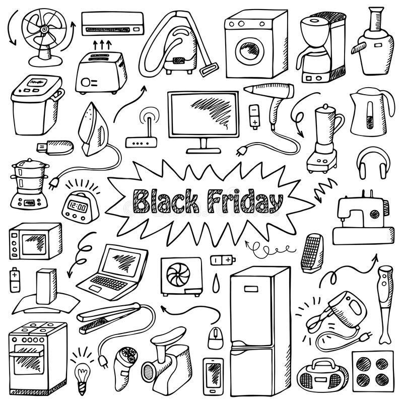 Black Friday Household Doodle Set Stock Vector