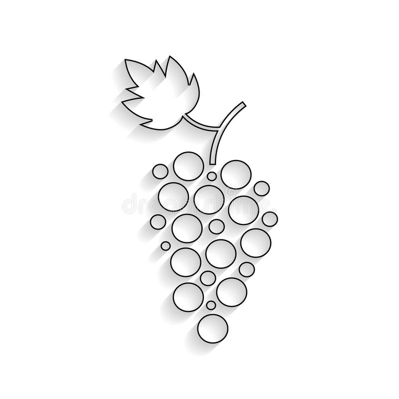 Black Outline Grapes Icon With Shadow Stock Vector