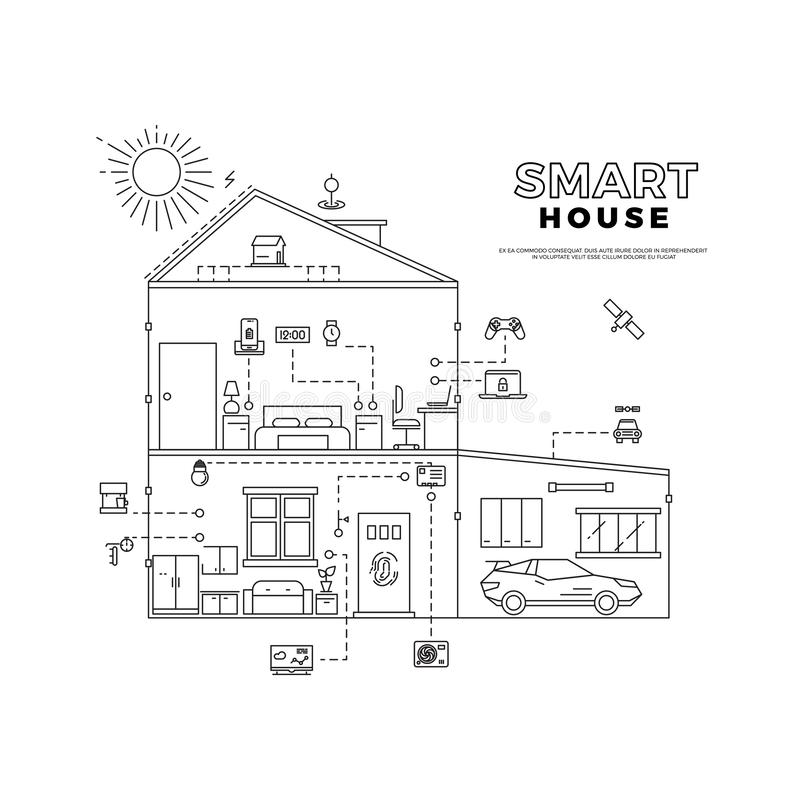 Smart Home Filled And Outline Vector Icon Sign Symbol