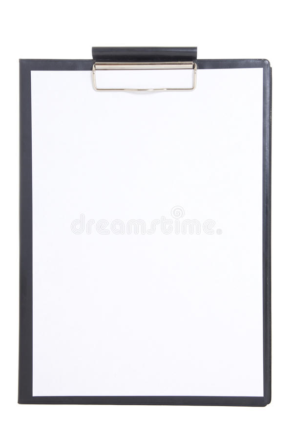 Black Plastic Clipboard With Blank Paper Sheet Isolated On