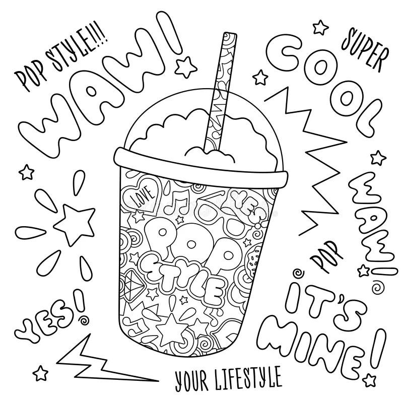 Milkshake Coloring Page. Educational Children Game