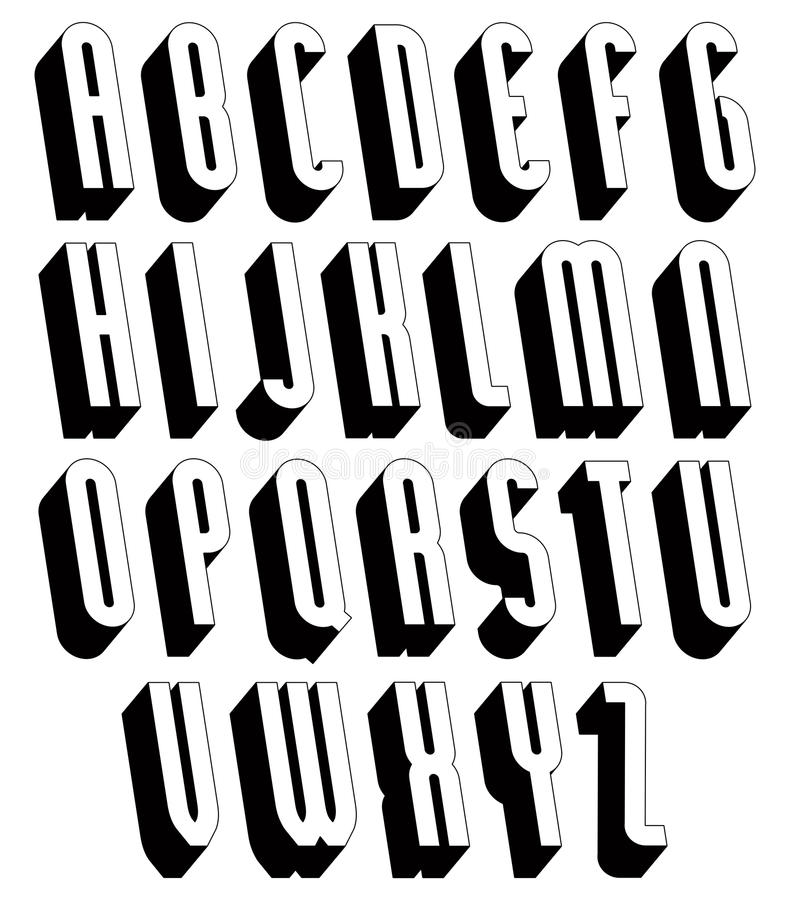 Black and white 3d font. stock vector. Illustration of