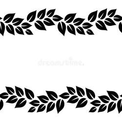 Black And White Elegant Leaves Seamless Border Frame Vector Stock Vector Illustration of ribbon seamless: 120960175