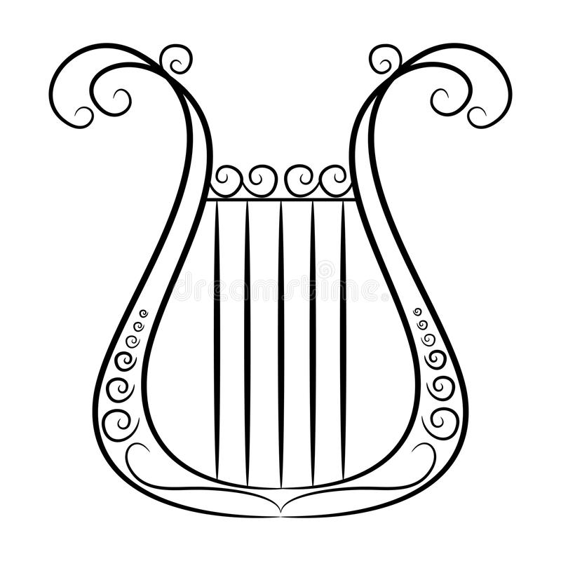 Black And White Harp On A White Background Stock Vector