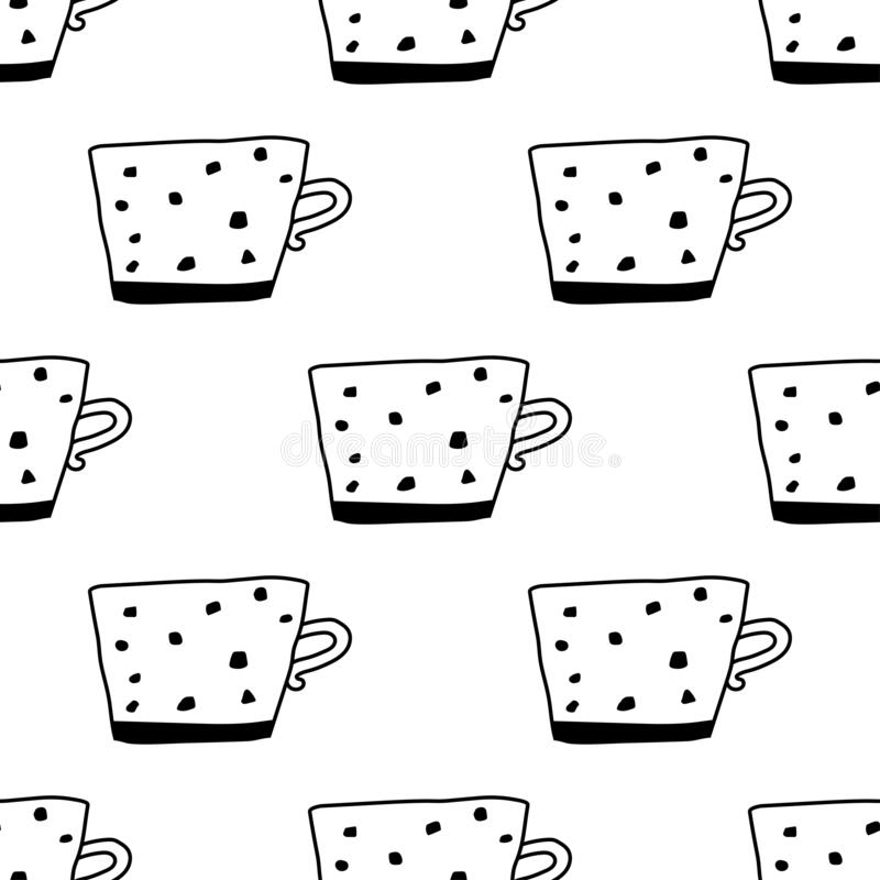 Tea And Coffee Mugs. Seamless Pattern. Black And White