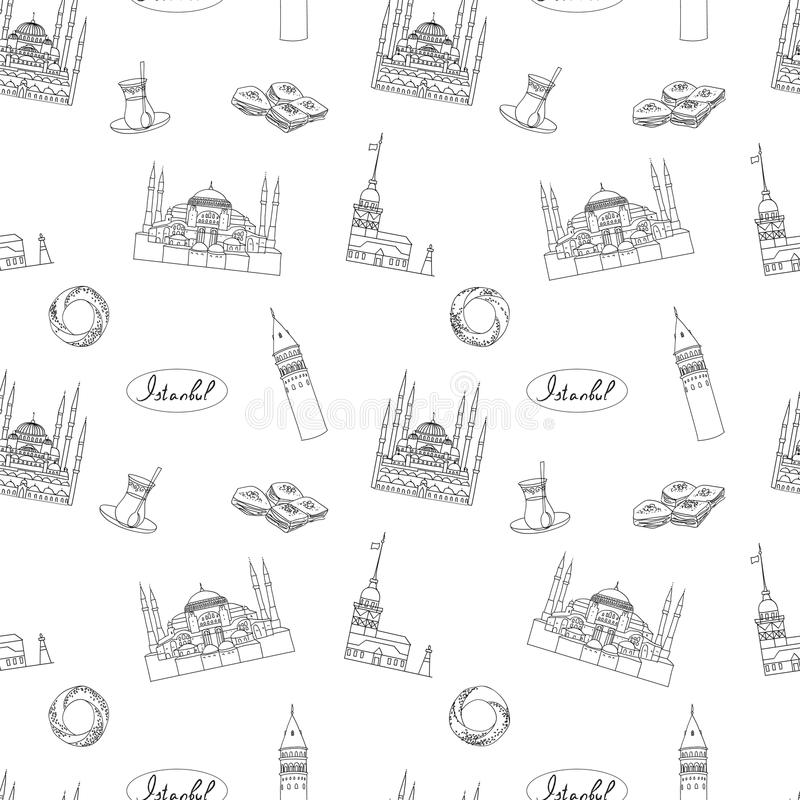 White And Black Paris Vector Seamless Pattern Hand-drawn